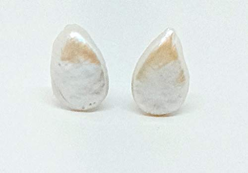 Pendientes de plata 925 con perla auténtica plana en forma de gota, 25 x 18 mm y cierre Omega (GCO0009)