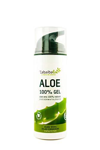 TABAIBA, Aloe Vera Gel 100 Pur für Gesicht Haare und Körper Natürliche beruhigende und pflegende Feuchtigkeitscreme Ideal für trockene strapazierte Haut Sonnenbrand...