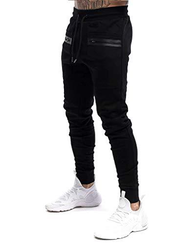 Yidarton Herren Jogginghose Sporthose Baumwolle Sweat Pants Trainingshose Jungen Slim Fit Freizeithose Joggers Streetwear (schwarz, m)
