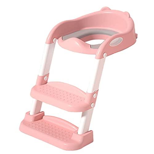 ZYUN Adaptador WC Niños,Escalera Asiento Escalera del Tocador de Niños,Reductor WC para Niños Acolchado Suave con Escalón Plegable Abatible Ajustable