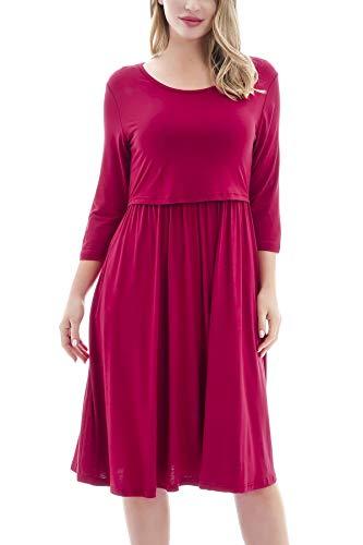 Smallshow Sukienki do karmienia 3/4, rękaw ciążowy, sukienka do karmienia piersią dla kobiet