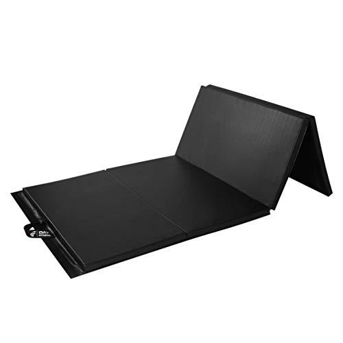Day 1 Fitness Folding Gymnastics Gym Mat – 4'x10' Black - High-Density Foam, Exercise, Yoga, Gymnastics, Crossfit, Aerobics, Tumbling Mats - Eco-Friendly Foldable Pads