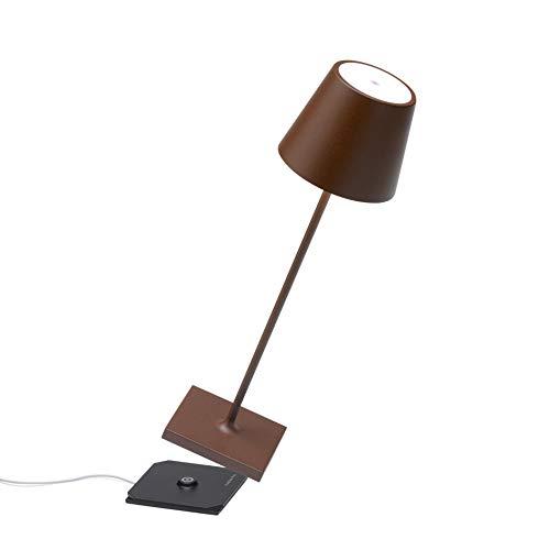 Zafferano Poldina Pro-Lámpara LED de Mesa Regulable (Aluminio, protección IP54, Uso en Interiores y Exteriores, estación de Carga de Contacto, Altura 38 cm, Enchufe Europeo (Core), Corten