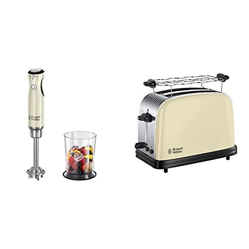Russell Hobbs Stabmixer Retro creme, 700W, Infinity-Mix-Technologie, Messbecher + Deckel & Toaster Colours+ creme, 2 extra breite Toastschlitze, 6 einstellbare Bräunungsstufen + Auftaufunktion