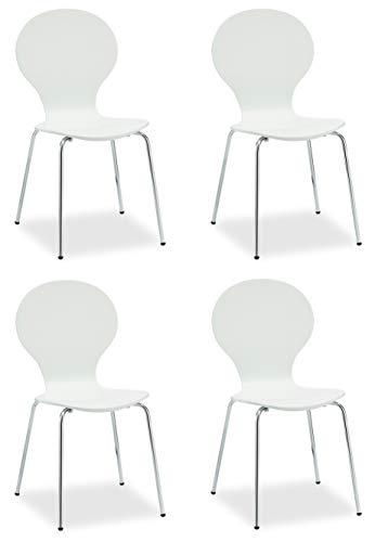 Ibbe Design 4er Set Weiss Stapelbar Esszimmerstühle Stapelstühle Konferenzstühle Holzstühle Albert, Holzsitz, Metall Gestell, L52x B49x H86 cm