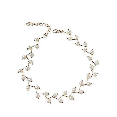 ASUROM Pearl Choker Pearl Collar De Nupcial Collar De Cuello Correa Cadena De Clavícula Accesorios para Mujer