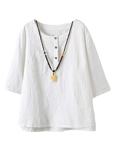 Minibee Women's 3/4 Sleeve Cotton Linen Jacquard Blouses Top T-shirt (XL, White)