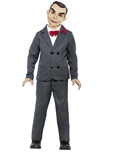 Luxuspiraten - Jungen Kinder Kostüm Gänsehaut Slappy die Bauchredner Puppe Anzug mit Hose Jacke Hemdteil Fliege und Maske, perfekt für Halloween Karneval und Fasching, 122-134, Grau