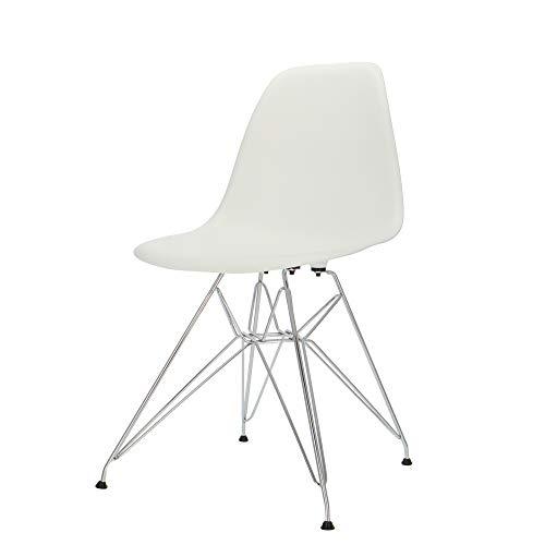 Popfurniture Designer Stuhl Weiß mit Edelstahl Beinen | robust & leichter Aufbau | Ideale Esszimmerstühle, Stühle Esszimmer, Esstisch Chair, Küchenstühle, Essstühle, Esszimmerstuhl, Schalenstuhl