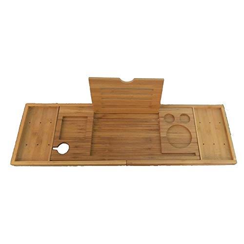 Lzcaure-HO Estantería de bambú para bañera, bandeja de baño, bandeja de ducha, organizador de madera, para libros, vino, jabón, toallero (marrón) (color: marrón, tamaño: 74 cm x 22,5 cm)
