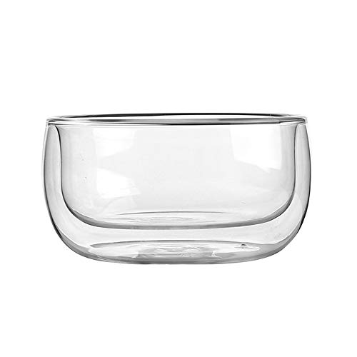 RKY Bol- Bol en verre transparent japonais, bol à ventre rond, bol à fruits anti-brûlure double bol à salade bol à yogourt - taille: 11cmX6cm /-/