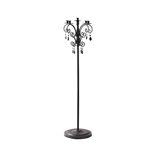 YBYB Candle Holder Retro Wedding Candlestick Vertical Pole Iron Candlestick Romantic Five-Headed Home Furnishings Floor Candle Holder Candlestick (Color : Black)