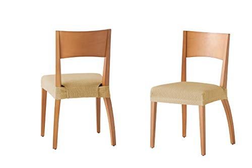 Martina Home Tunez - Funda para Silla, Tela, Funda silla asiento, Beige, 24 x 30 x 6 cm, 2 Unidades