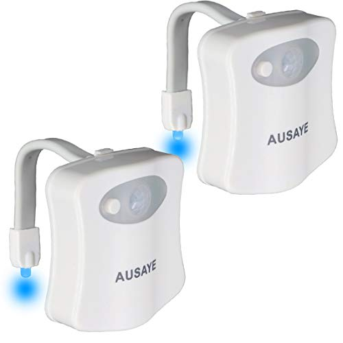AUSAYE Toilet Night Light 2Pack,Toilet Bowl Light, 8-Color LED Night Light,Motion Activated Toilet Light for Bathroom Decor Adult Kids NightLights Gifts (2Pack)