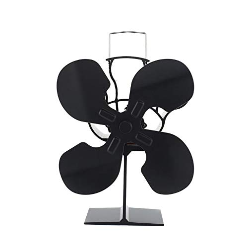 NOBGP Ventilador de Estufa de 4 Palas Alimentado por Calor, Ventilador de Estufa de leña silencioso, ecológico y eficiente, para quemadores de Gas/pellets/leña/leña/Chimenea, Negro