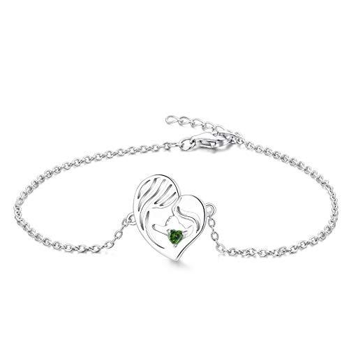 YL Mutter und Tochter Armband 925 Sterling Silber Schnitt Mai Geburtsstein Grün Zirkonia Herz Armband für Mutter Damen
