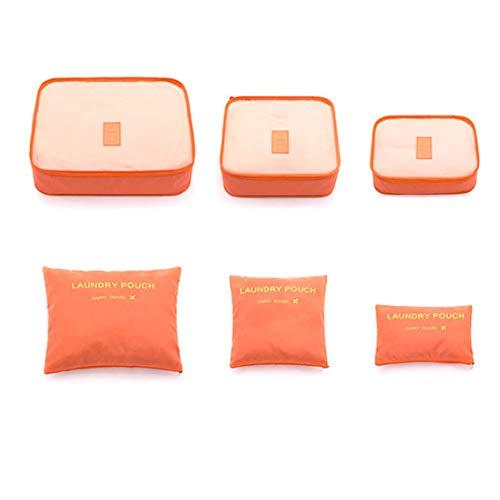 Juego de Cubos de Embalaje de 6 Piezas Bolsas de Almacenamiento Caja y Bolsas Organizadoras de Equipaje y Maletas Impermeables, Naranja