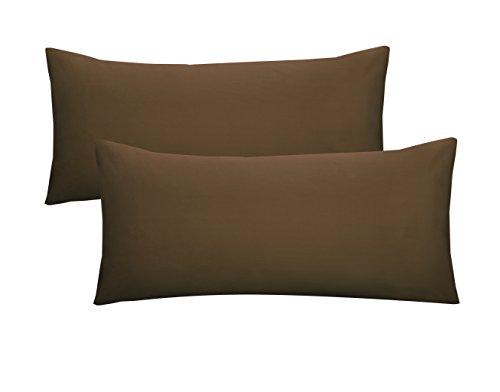 biberna 0077144 Fine Jersey Bed Linen Side Sleeper Pillow Case (Cotton) 2x 40 x 140 cm Topaz / Mocha