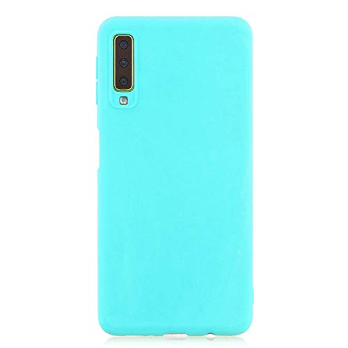 cuzz Funda para Samsung Galaxy A7(2018)+{Protector de Pantalla de Vidrio Templado} Carcasa Silicona Suave Gel Rasguño y Resistente Teléfono Móvil Cover-Azul Claro