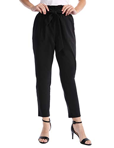 CHICIRIS Solid Casual High Waist Lightweight Cropped Pants for Women Black Size L