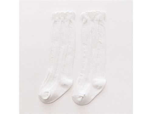 Cadeau bébé Chaussettes de coton doux enfants Enfants d'été en coton Rayures verticales Mid Tube Chaussettes (Blanc)