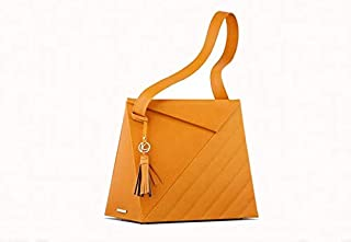 Kaizer KB2110MUST Leather Shoulder Bag for Women - Mustard