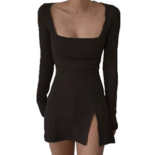 N\P Vestido de noche para mujer, sexy, de manga larga, cuello cuadrado, color caqui, negro, monocromático, vestido de noche Negro XL