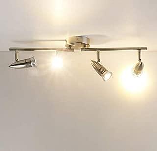 LED Ceiling Spot Light, Yosoan Brushed Portable Modern Mini Spotlight Adjustable Bullet Lamp for Mall Bar Coffee Bathroom Dressing Room Hallway (4-Head)