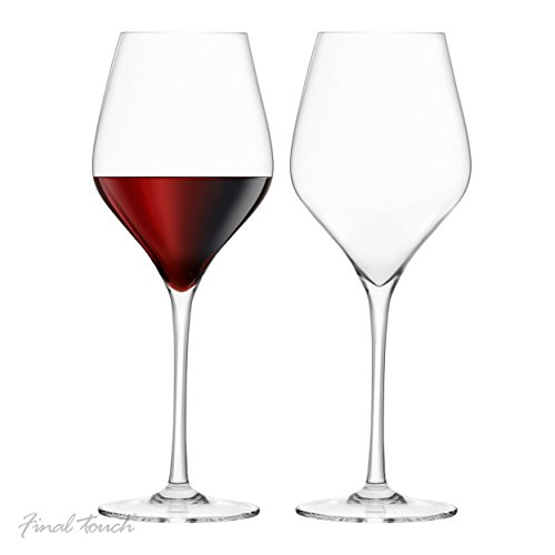 Final Touch 100{691c3387f7fe4e49a5e6cf160325b4b960786eaf26262a8e70e12cf79f0362f8} Lead-free Crystal Red Wine Glasses Rotweingläser Kristallglas Hergestellt mit DuraSHIELD Titanium verstärkt für erhöhte Haltbarkeit Tall 26 cm 620ml - Packung mit 2 Stück