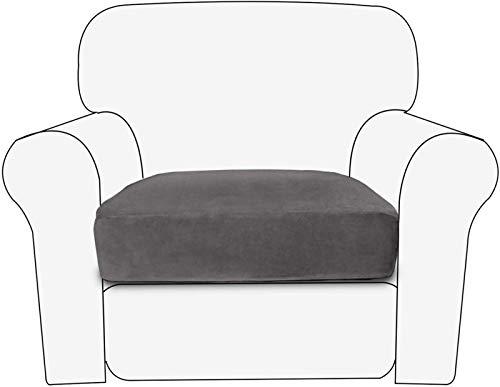 XDKS Funda de cojín de sofá, funda de cojín de terciopelo para asiento de sofá, funda de cojín duradera, protector de muebles para cojines individuales (1 plaza, gris)