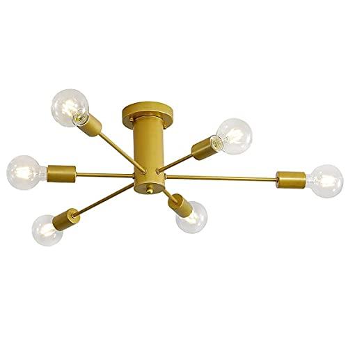 Lámpara de Techo Vintage en Metal Industrial 6 x E27 Candelabro Sputnik...