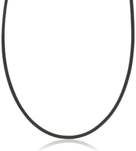 Amor Unisex-Halsband Kette Basic Edelstahl Leder schwarz, 45 cm, 362320