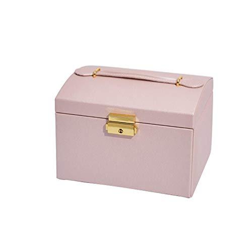 ASDMRQ Caja de joyería, caja de almacenamiento de joyería de tres capas de cuero, cajas de almacenamiento de joyería para mujer, caja de joyería de diseño simple