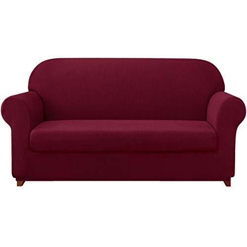 subrtex 2-Stück sofabezug Stretch 2-teilig Sofa Überwürfe Stretch Spandex Couchbezug Sofahusse Sofa Abdeckung (2 Sitzer, Weinrot)