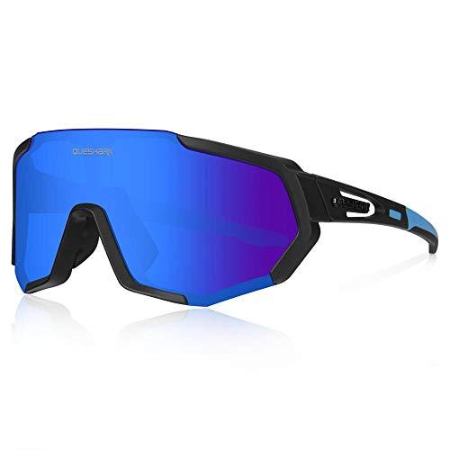 Queshark Fahrradbrille, TR90 Unbreakable Frame Polarisierte Sportsonnenbrille, Fahrradbrille für Männer Frauen mit 3 Wechselobjektiven, zum Fahren Angeln Glof Baseball Laufen CE Zertifiziert