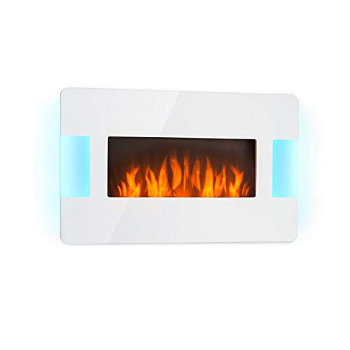 Klarstein Belfort Light & Fire Electric Fireplace with Flame Effect - Electric Fireplace, 1000 or 2000 Watts, Thermostat, Timer, Ambient Lighting, Remote Control, Wall Mounting, White