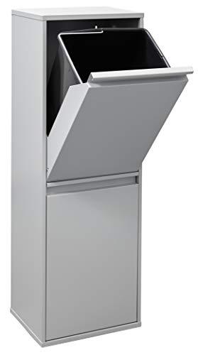 ARREGUI CR202-B Basic Stahl, Mülltrennsystem mit 2 Inneneimer, Mülleimer für die Küche, Abfallbehälter mit separater Recycling-Einheit, 34 L, Legierter, Hellgrau, 90,5 x 30,5 x 24,5 cm