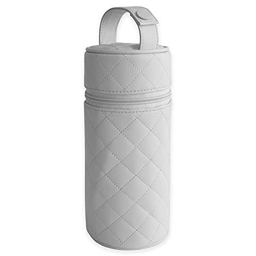 Duffi baby Termo porta biberon polipiel bebe. Bolsa termica portabiberon caliente y frio. Funda isotermica para biberones o termo portatil. Cremallera y asa. Limpieza facil. Coleccion Lux Gris.