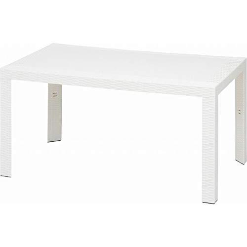 ガーデンテーブル ラタン調 80×140cm 4人掛け bbq 屋外 パラソル 穴付き ホワイト