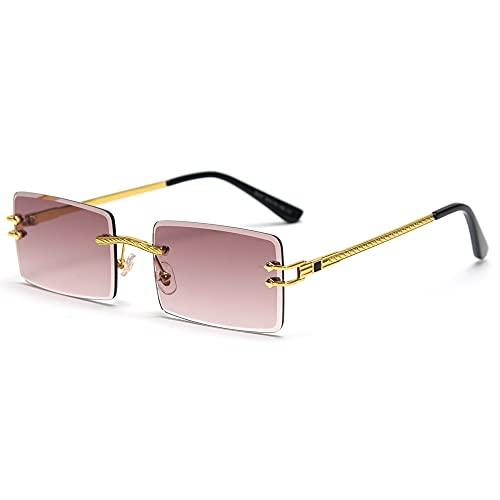 LIGOES Gafas de sol rectangulares sin montura verde azul cristal espejo gafas de sol mujer Uv400 Retro Hombre Sombras tintadas, Gold with Brown,