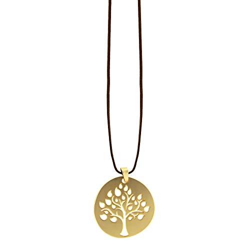 Sweet Deluxe Kette Tree, mattgold/braun I Elegante Halskette für Damen, Frauen & Mädchen I Halsband Modeschmuck I Designer Necklace