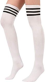 thematys Medias de Rodilla de Mujer en 3 diseños Diferentes - Calcetines de diseño Retro de Rayas para niñas y Mujeres (Style 2)