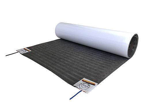 Elektrische Fußbodenheizung, superflache Heizfolie speziell für Parkett + Laminat, inkl. Anschlüsse, Temperaturregler optional - nur 1 mm Aufbauhöhe, Länge - Fläche:5.5m (2.75 m²)