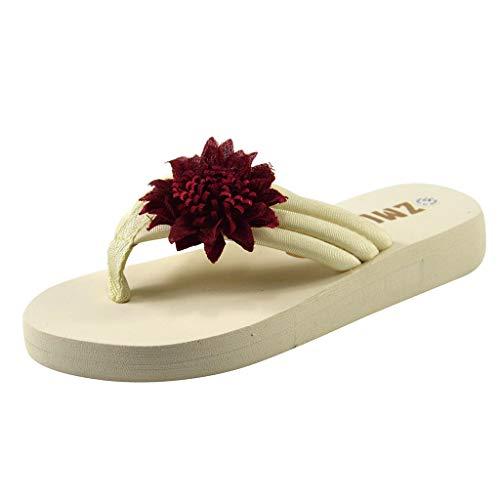 X Xshuai Sommer Damenmode Casual Allzweck Hermitage Sonnenblume-Kuchen Hausschuhe Schuhe (38, Wein)