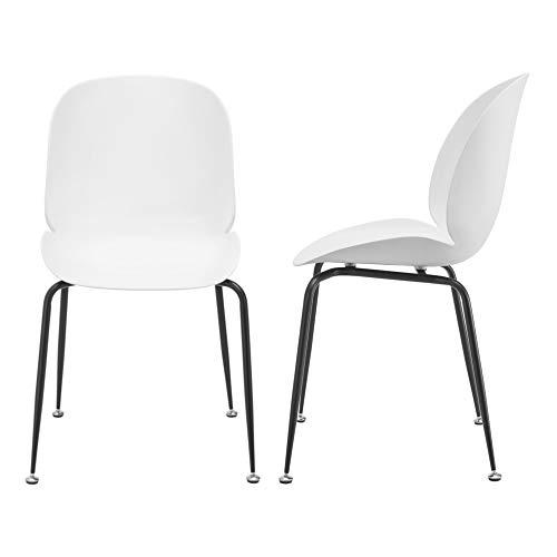 [en.casa] Design stoel set van 2 kunststof metaal wit