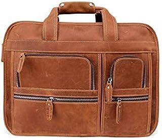 حقيبة ظهر Chliuchihjklstb، حقيبة عمل من الجلد للرجال 17 بوصة حقيبة الكتف رسول حقيبة سفر (اللون: B)