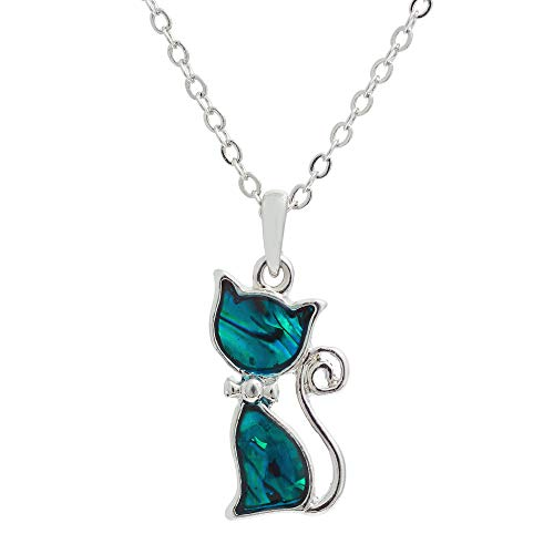 Byzantium Collection Paua Shell Natural Abalone Cheeky Kitty Cat Necklace in Delicate Blue/Green, Rhodium Plated, 20mm in Size (P018)