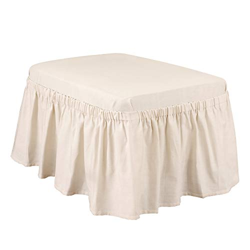 SURE FIT Home Décor Cotton Duck Solid Box Cushion Ottoman Two Piece Slipcover, Relaxed Fit, 100% Cotton, Machine Washable, Natural Color, 30 x 30 x 34 Inches