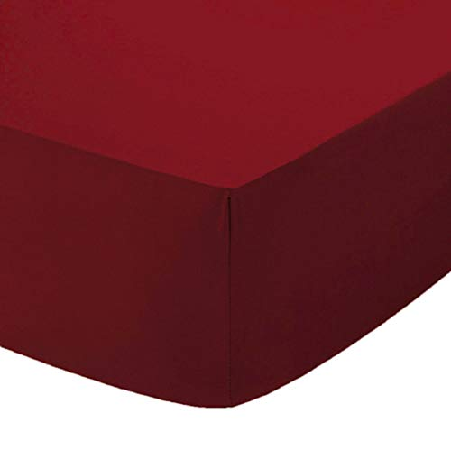 Comfy Nights Extra Deep 40Cm PolyCotton Easy Care Pecale Fitted Sheet Or Pillow Pair, Double - Burgundy/Wine