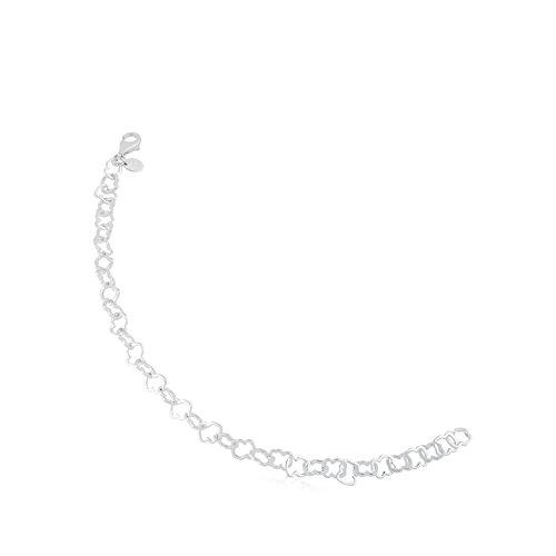 TOUS New Carrusel - Pulsera de Plata de Primera Ley con Eslabones de Oso, Ajustable - Motivo 0,8 cm, Largo 19 cm